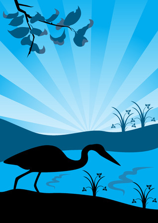 Silhouette of a lonely heron on a bank early in the morning, illustration Vector