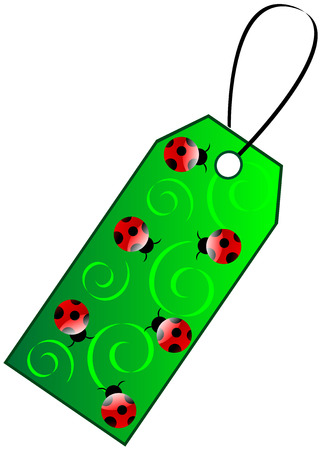 Green gift tag with ladybird Stock Vector - 7296256