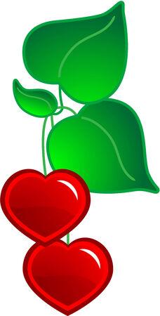 Cartoon hearts with leaf Vector