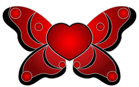 Illustration of red heart with wings, isolated Vector