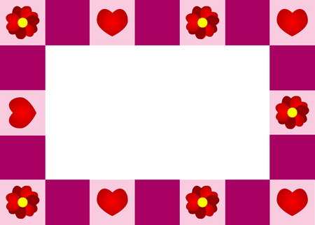 Beautiful frame with red flowers and hearts Иллюстрация