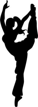 An isolated Female silhouette of a gymnast Illustration