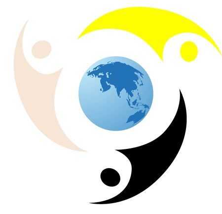 A world business logo with  abstract people silhouettes for smart business corporations. photo