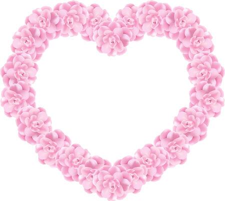 Heart of fresh pink flowers Stock Vector - 7296531