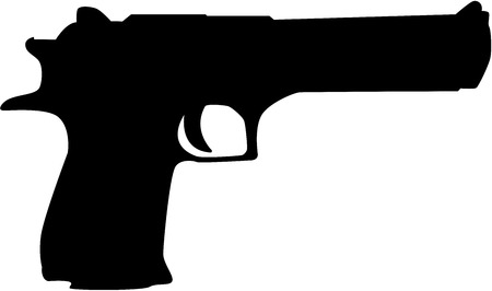 firearm: Black hand gun silhouette