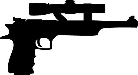 Black hand gun silhouette, isolated. illustration Vector