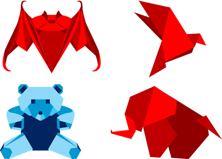 Set of four origami animals, isolated.