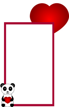 Decorative banner or label illustration with panda bear and red heart, isolated Vector