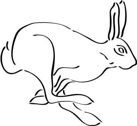 cartoon hare: Rabbit silhouette, isolated. Cute animal Illustration