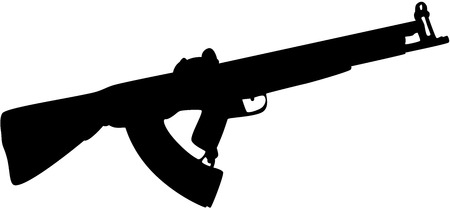 Black gun silhouette, isolated.  Vector