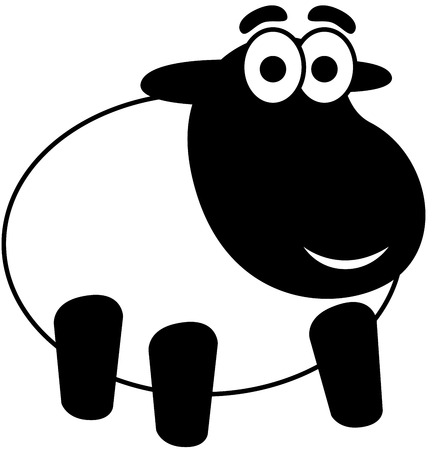 Cartoon Sheep Lamb, isolated.