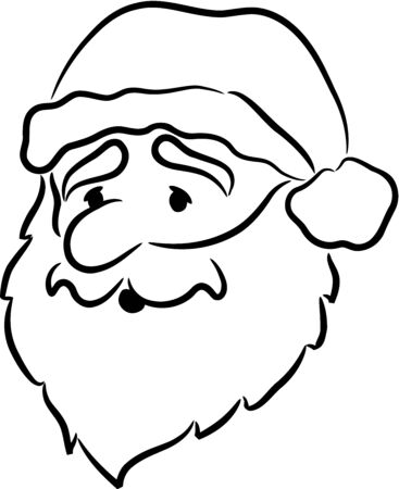 old man beard: Face of Santa Claus, isolated.  Illustration