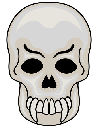illustration of Evil Skull, isolated.  Vector