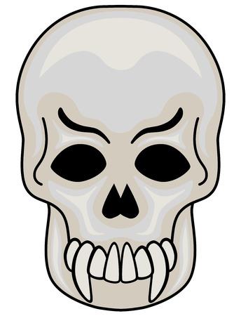 illustration of Evil Skull, isolated.  Vector