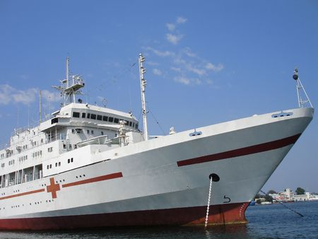 Russian naval ship-hospital in the port. Ukraine, Sevastopol.