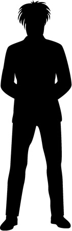 Black Silhouette of a young man, isolated Banco de Imagens - 7509445