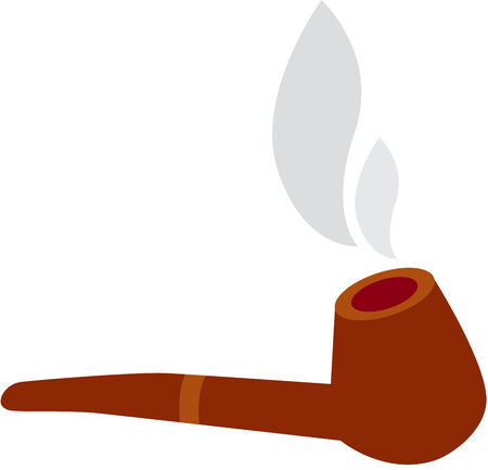 illustration of a wooden Tobacco Pipe with smoke, Isolated Vector