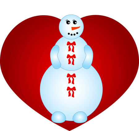 funny illustration figure of smiling snowman Stock Vector - 7536718