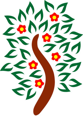blossomed: illustration of a Blossomed tree, isolated