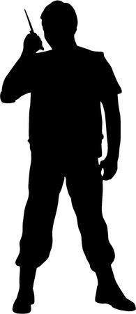 portable radio: Hombre habla sobre un conjunto de radio port�til, aislado. silueta negra
