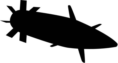 projectile: Projectile silhouette, isolated.