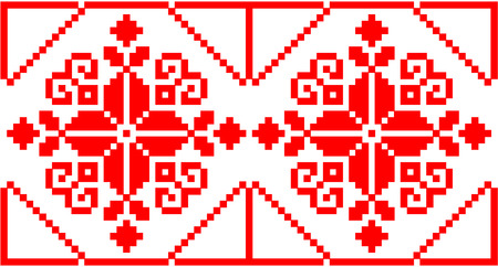 illustration of Ukrainian embroidery ornaments with geometric motives
