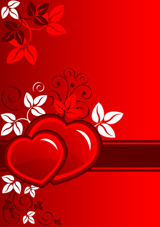 Beautiful composition of red hearts and leaf Vector