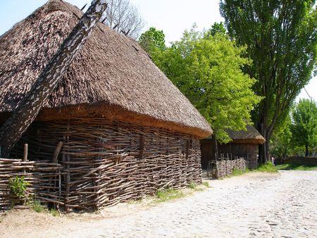Rural Village street. Country farm in Pirogovo Museum, Ukraine Stock Photo - 7542939