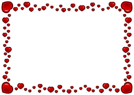 Beautiful Frame of red hearts, isolated.  Ilustração