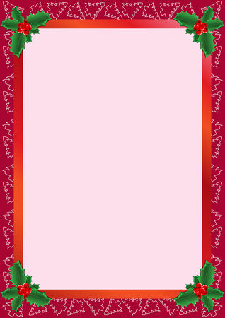 beautiful frame with Christmas trees and holly Vector