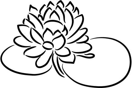 silhouette fleur: Belle illustration d'une fleur de lotus frais, isolé Illustration