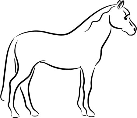 Illustration of a funny horse silhouette, isolated Vector