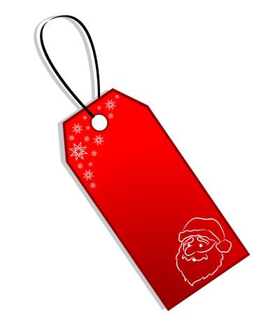 Red Christmas Gift label met sneeuw en het gezicht van de Kerst man, geïsoleerd