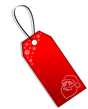 christmastime: Red Christmas Gift Tag with snowflakes and Face of Santa Claus, isolated Illustration