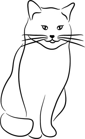 Black cat silhouette, isolated. Vector illustration. Banco de Imagens - 7547641
