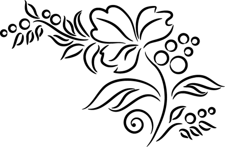 black berry: Ornament with leaves and berries, isolated.  illustration
