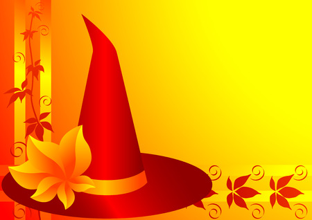 bewitchment: Autumn background with witch hat for Halloween. illustration.