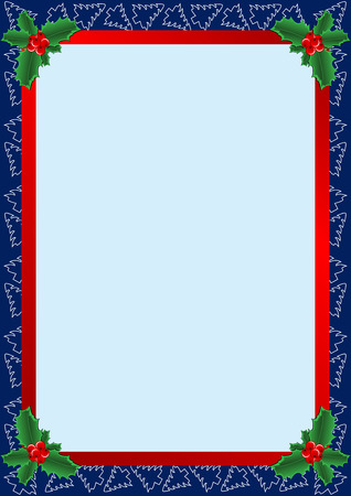 bordure de page: magnifique cadre avec les arbres de No�l et de houx