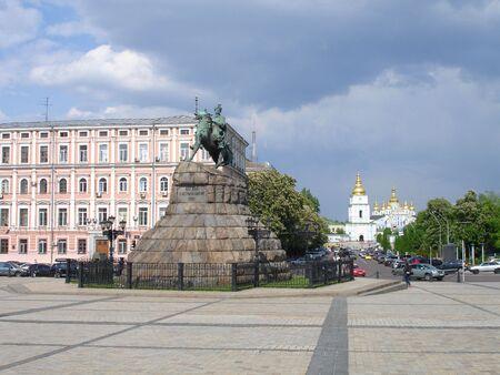 Famous Kiev landmarks - Bogdan Khmelnitsky statue on Sofiyvska Square  in Kiev, Ukraine Stock Photo - 7547693