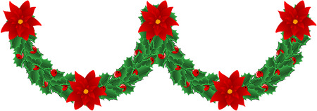 Christmas decoration ornament with holly berry and Christmas Flower, also known as Bethlehem Star or Christmas Star in some countries.  illustration, isolated