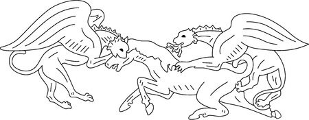 Two chimeras hunt on a horse, isolated.  illustration Vector