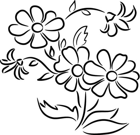 Beautiful  illustration - bouquet of flowers, isolated