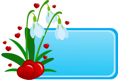 illustration of flowers and red hearts Vector
