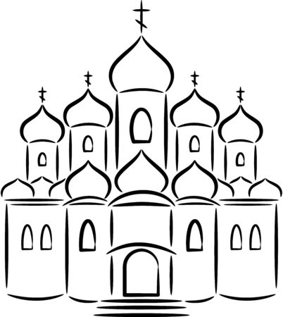 Silhouette of the Orthodox Church, isolated. illustration Ilustração