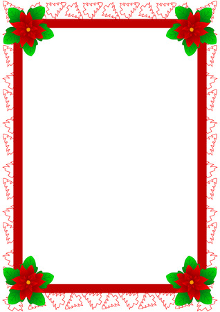 fronteiras: Beautiful frame with Christmas trees and Christmas Flower. Also known as Bethlehem Star, Poinsettia or Christmas Star in some countries. Ilustra��o