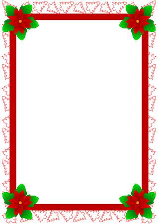 flor de pascua: Hermoso marco con �rboles de Navidad y flor de Navidad. Tambi�n conocido como estrella de Bel�n, Poinsettia o estrella de Navidad en algunos pa�ses.