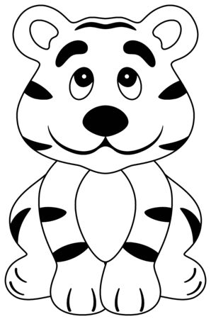 an illustration of a cartoon happy tiger, isolated