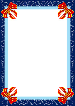 Beautiful frame with Christmas trees and red bows.  Vector