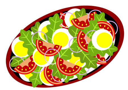 illustration of a delicious salad on the plate, isolated Ilustração