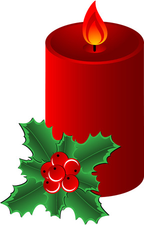 Christmas composition  with red candle and Holly Border, isolated. illustration Stock Vector - 7557835